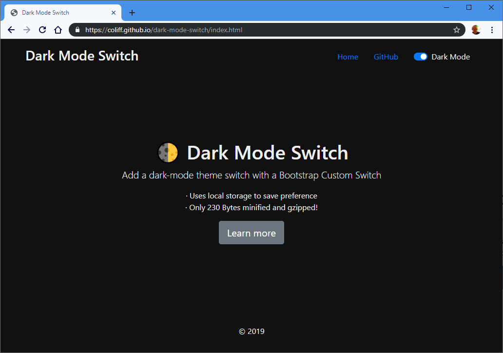 dark mode switch screenshot